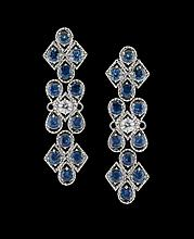 Pair of 14 Kt. Gold, Sapphire & Diamond Earrings