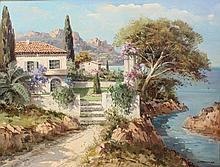 """Lucien Potronat (1889-1974) French. """"Cote D'Azure"""""""