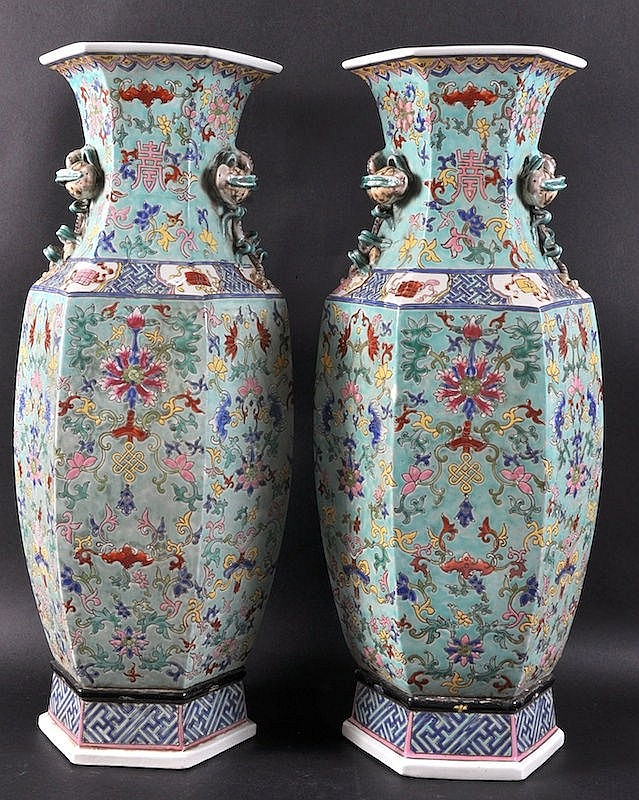 A PAIR OF CHINESE PORCELAIN ENAMELLED HEXAGONAL