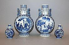 A PAIR OF 19TH CENTURY CHINESE BLUE & WHITE PORCELAIN MOON FLASKS
