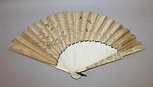 A 19TH CENTURY CHINESE CANTON IVORY & SILK FAN