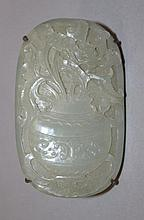 A GOOD QUALITY 18TH/19TH CENTURY CHINESE CARVED OVAL CELADON JADE PLAQUE