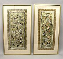 TWO EARLY/MID 20TH CENTURY CHINESE FRAMED EMBROIDERED SILK PANELS