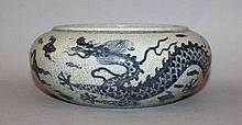 A CHINESE BLUE & WHITE PORCELAIN DRAGON BOWL