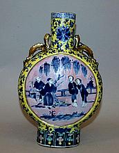 A 19TH CENTURY CHINESE BLUE & WHITE & ENAMELLED PORCELAIN MOON FLASK