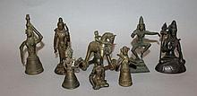 A GROUP OF EIGHT 19TH/20TH CENTURY INDIAN BRONZE FIGURES