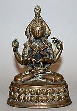 A 19TH/20TH CENTURY NORTH INDIAN BRONZE FIGURE OF A MULTI-ARMED DEITY