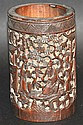 A CHINESEQING DYNASTY CARVED BAMBOO BRUSH POT
