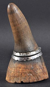 A 19TH CENTURY CARVED RHINOCEROS HORN INKWELL