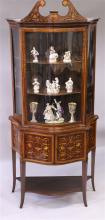 A SUPERB MAHOGANY AND MARQUETRY INLAID STANDING CH