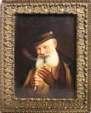 A SUPERB BERLIN KPM PLAQUE of an old man smoking a