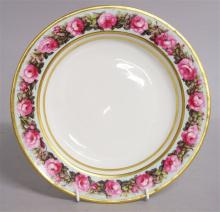 A DERBY FINE SOUP PLATE, painted with a border pat