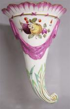 A 19TH CENTURY RARE DERBY CORNUCOPIA painted with