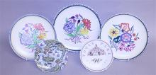 THREE LARGE POOLE POTTERY FLORAL DECORATED PLATES