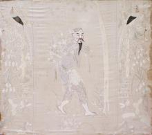 A LARGE CHINESE EMBROIDERED CREAM GROUND SILK PANE