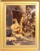 A VICTORIAN PICTURE, woman playing a mandolin.