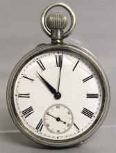 A LADIES SILVER POCKET WATCH with reverse floral p