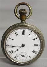 A SILVER POCKET WATCH with reverse hunting scene.