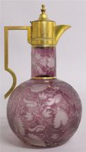 A GOOD VICTORIAN BOHEMIAN RUBY GLASS ETCHED CLARET