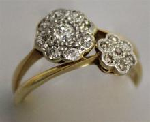 TWO 18CT YELLOW GOLD AND DIAMOND CLUSTER RINGS.