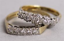 TWO 18CT YELLOW GOLD AND DIAMOND RINGS.