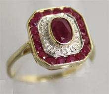 A RUBY AND DIAMOND ART DECO STYLE RING, set in 9ct