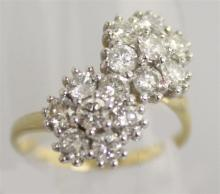 A VERY GOOD 18CT YELLOW GOLD AND DIAMOND DOUBLE FL