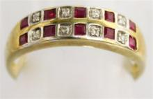 A 9CT YELLOW GOLD RUBY AND DIAMOND DOUBLE ROW RING