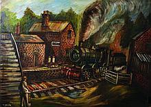 Higginson (20th Century) British. A Steam Train Pu