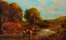 John Linnell (1792-1882) British. Cattle Watering