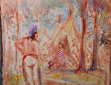 20th Century American. A Red Indian Standing by Ti