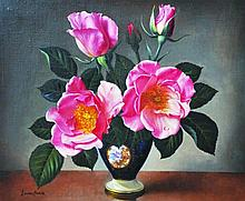 James Noble (1919-1989) British. 'Pink Roses in Po