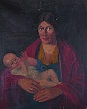 20th Century Irish School. A Mother and Child, Oil