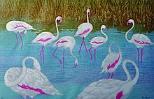 Kay Spink (20th Century) British. 'Flamingo's', Li
