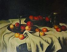 Coe (20th Century).  Still Life of Apples on a Tab