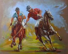 F... Arnete (20th Century). British. Polo, Oil on Ca