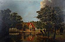 19th Century Dutch School. A Tranquil River Landsc