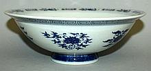 A GOOD QUALITY BLUE & WHITE PORCELAIN BOWL, decora