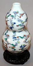 A CHINESE DOUCAI PORCELAIN DOUBLE-GOURD PORCELAIN
