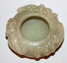 A SMALL CHINESE CELADON GREEN JADE WATER POT, the