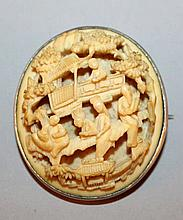 TWO 19TH CENTURY CHINESE CANTON IVORY OVAL PLAQUES