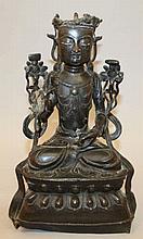 A CHINESE MING DYNASTY BRONZE FIGURE OF BUDDHA, 16