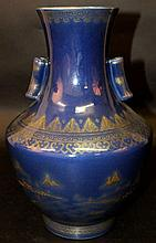 A CHINESE BLUE-GROUND PORCELAIN ARROW VASE, the ov