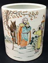 A CHINESE FAMILLE ROSE PORCELAIN BRUSHPOT, painted