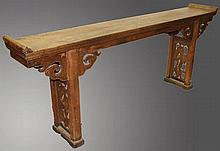 A LONG 18TH/19TH CENTURY OAK ALTER TABLE, with pla