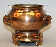 A 19TH/20TH CENTURY CHINESE COPPERED BRONZE CENSER