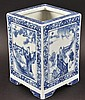 A CHINESE BLUE AND WHITE SQUARE FORM BRUSH POT