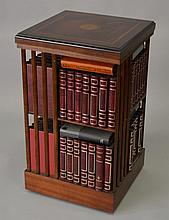 A GEORGIAN STYLE MAHOGANY INLAID REVOLVING BOOKCASE. 1ft 6in