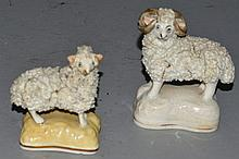 A SMALL PAIR OF STAFFORDSHIRE ENCRUSTED POODLE with open fro