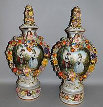 A LARGE PAIR OF MEISSEN DESIGN PORCELAIN VASES, COVERS AND S